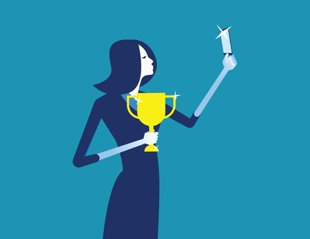 Businesswoman photograph with a trophy. Concept business vector illustration. 일러스트
