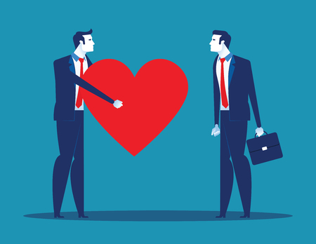 Sincerity. Business people giving heart for partner. Concept business vector illustration.