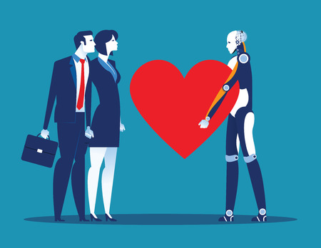 Sincerity. Robot giving heart for Human. Concept business vector illustration.