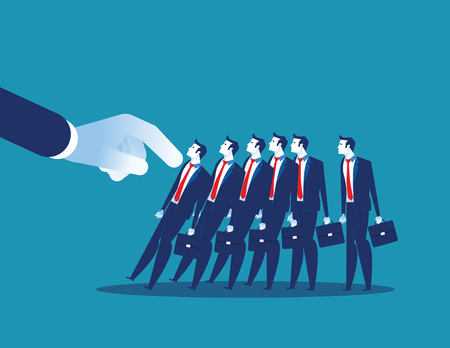 Domino Effect. Manager pushes employee standing in row. Concept business chain reaction vector illustration.