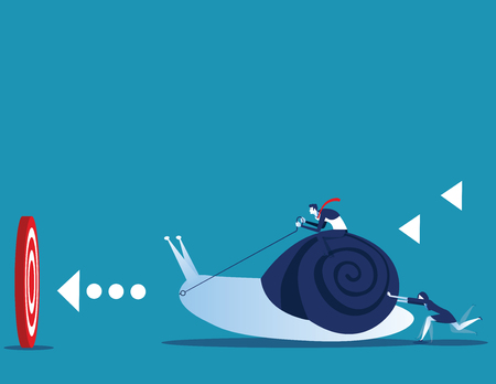 Business leader pushing snail with employee to target for success. Concept business and animal vector illustration. Ilustración de vector