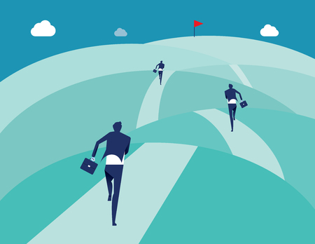 Business running in the mountain to success. Concept business vector illustration.