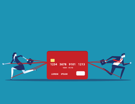 Business people and committed debt with credit card. Concept business vector illustration.
