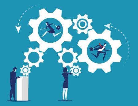Industria de personas y negocios trabajando del mecanismo de engranajes. Ilustración de vector de equipo de negocio de concepto.