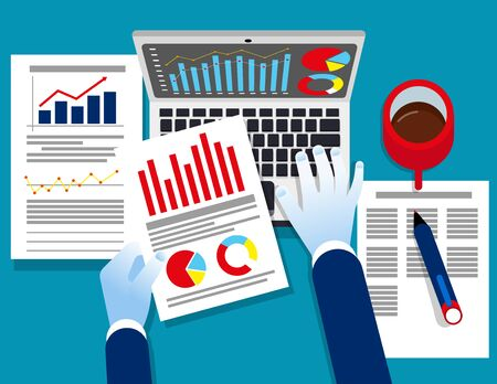 Analyst business. Auditor working on statistical data paper documents. Concept business vector illustration, Report, Spreadsheets, Flat design style, Isolated on blue background.