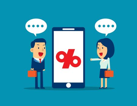 Business presentation beside smartphone with percentage future business. Concept business vector illustration. Flat business cartoon, Percentage sign, Technology, Presentation.