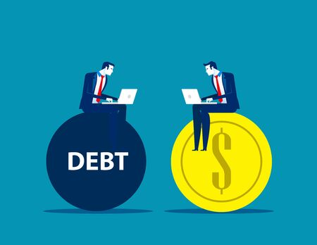Business people working on profit and debt. Concept business vector illustration, Flat business cartoon, Currency and Bank, Investment & Risk.