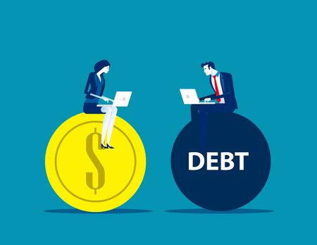 Business people working on profit and debt. Concept business vector illustration, Flat business cartoon, Currency and Bank.