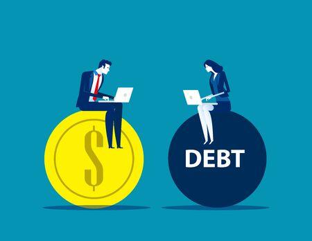 Uomini d'affari che lavorano sul profitto e sul debito. Illustrazione di vettore di affari di concetto, fumetto piano di affari, valuta e banca Vettoriali