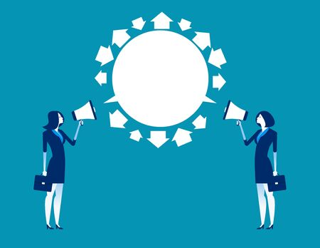Business person and partner exchange ideas. Concept business meeting vector illustration, Megaphone, Exchange.