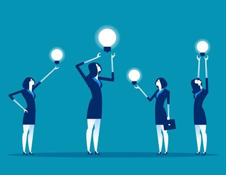 Business team with ideas working. Concept business vector illustration,Teamwork, Office worker.  Ilustração