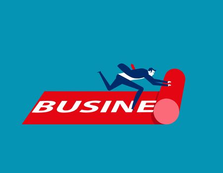 Businessman rolling out the business carpet. Concept business vector illustration. Rolling, Red.
