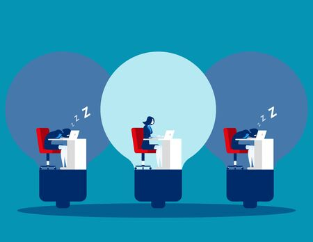 Business people and working efficiency. Concept business vector illustration. Flat character design. Sleeping, Relaxing.