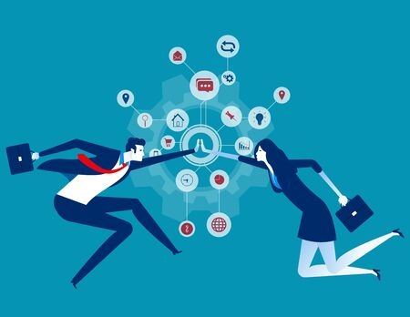 Cooperation. Organization collaboration. Concept business vector illustration, Teamwork, Partner.