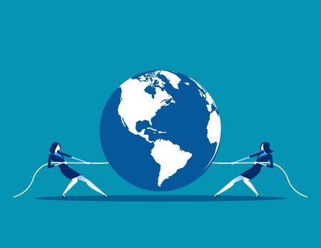 Global competition. Concept business vector illustration, Teamwork, Partnership, Tug War. Illustration