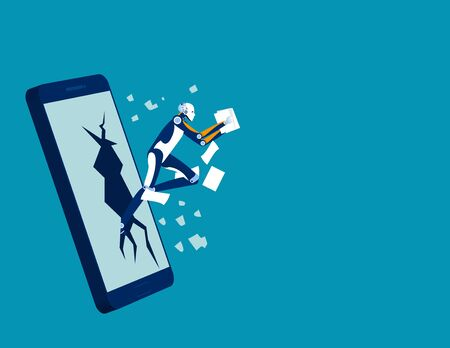Data theft on business mobile phone, Concept technology programing, Hacker, Attack, Device. Stock Illustratie