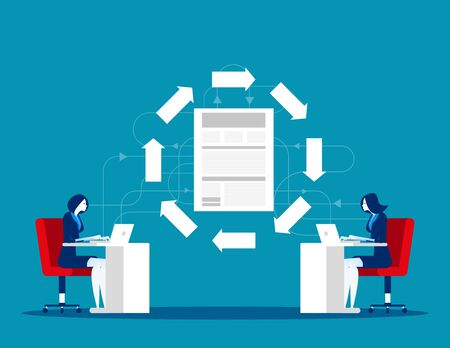 File transfer technology. Business team and data exchange between. Concept business office vector illustration.