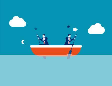 Conflitto tra leader e dipendenti. Illustrazione di vettore di direzione di affari di concetto, barca, direzione, problema. Vettoriali