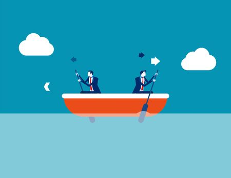 Leader and employee conflict. Concept business direction vector illustration, Boat, Direction, Problem. Ilustrace