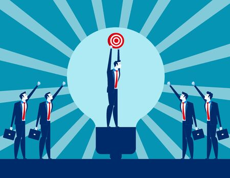 Business leader holding success target with team ideas. Concept business vector illustration.Teamwork, corporate, partnership Ilustração