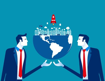 Organization holds the globe. Concept business vector, World, Corporate, Occupy. Reklamní fotografie - 129988070