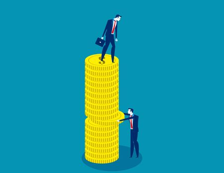 Business people and competition. Concept business pile of coins vector illustration, Pulling, Currency, Flat cartoon style design.
