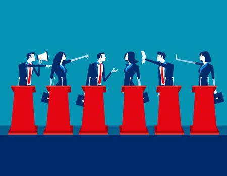 Politiker, die an der politischen Debatte teilnehmen. Konzept-Business-Team-Vektor-Illustration, Teams, Debatte, Meeting.