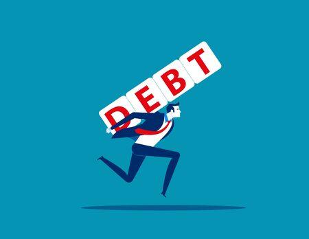 Mann unter der Last des Kredits. Konzeptgeschäftsschuldenvektorillustration, Geschäftscharakterart, Karikaturdesign. Vektorgrafik