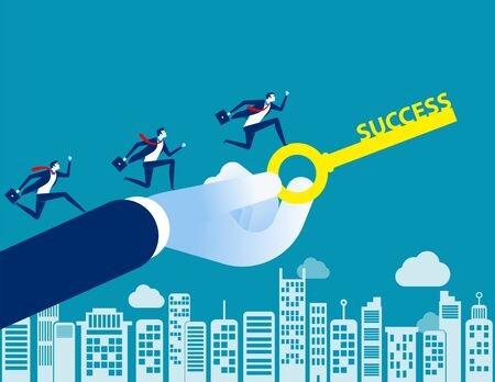 Business team with key to success. Concept business vector illustration, Flat character style, Cartoon business design. Illustration