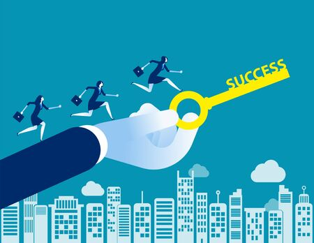 Business team with key to success. Concept business vector illustration, Flat character style, Cartoon business design.