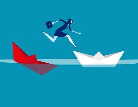 Geschäftsfrau, die versunkenen Papierbootsschiff entkommt. Konzeptgeschäftsvektorillustration, flaches Charakterdesign, Karikaturgeschäftsart.
