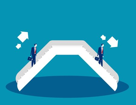 Businessman on an escalator. Concept business vector illustration. Flat business design. Cartoon character style. Foto de archivo - 129470199
