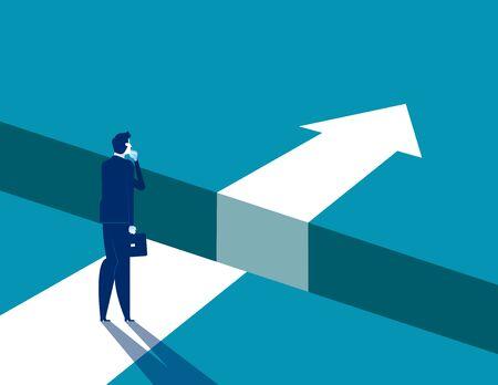 Homme d'affaires et écart sur le chemin du succès, illustration vectorielle de problème de résolution d'entreprise, personnage d'entreprise plat, conception de style dessin animé.