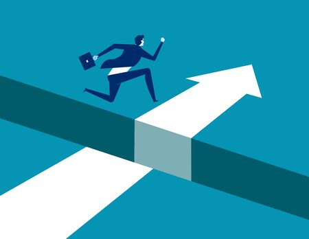 Businessman jumping  over gap on way to success, Concept business solving problem vector illustration, Flat business character, Cartoon style design.