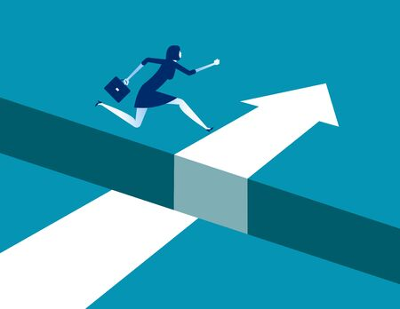 Businesswoman jumping  over gap on way to success, Concept business solving problem vector illustration, Flat business character, Cartoon style design.