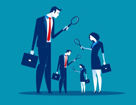 Level of business corporate. Concept business vector illustration, Flat character style, Magnifying glasses. Ilustração