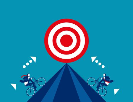 Business competition for target. Concept business vector, Bicycle, Successful. Foto de archivo - 129470222