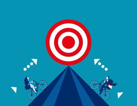 Business competition for target. Concept business vector, Bicycle, Successful.