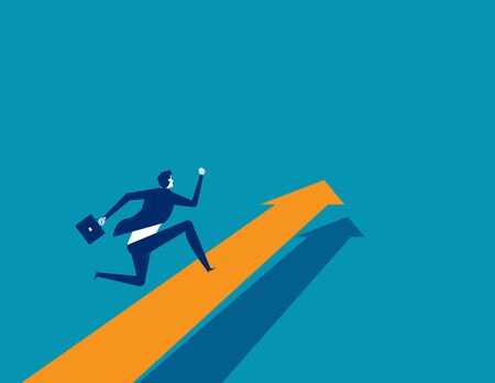 Businessman running on arrow. Concept business vector. Direction, Growth, Up.