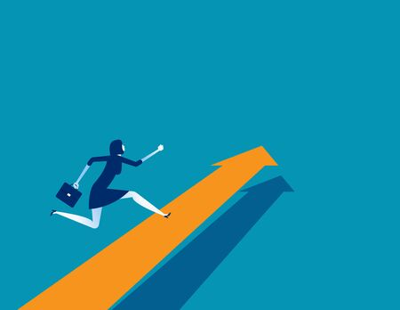 Businesswoman running on arrow. Concept business vector. Direction, Growth, Up.