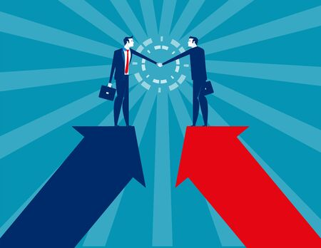 Business and partner handshake. Concept business agreement vector illustration. Flat business cartoon, Character style design.