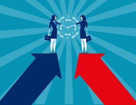 Business and partner handshake. Concept business agreement vector illustration. Flat business cartoon, Character style design. Reklamní fotografie - 129755236