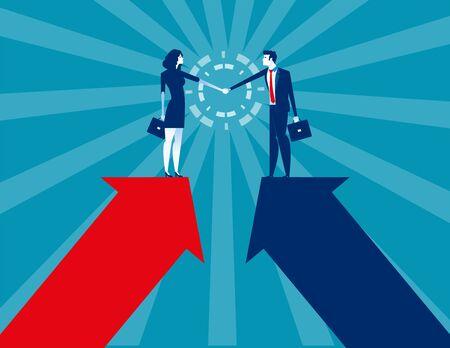 Business and partner handshake. Concept business agreement vector illustration. Flat business cartoon, Character style design. Reklamní fotografie - 129755233
