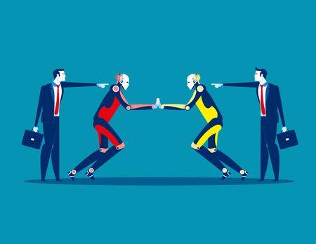 Proxy war. Competition robot technology. Concept business technology vector illustration, Flat business style, Cartoon character design. Reklamní fotografie - 129755237