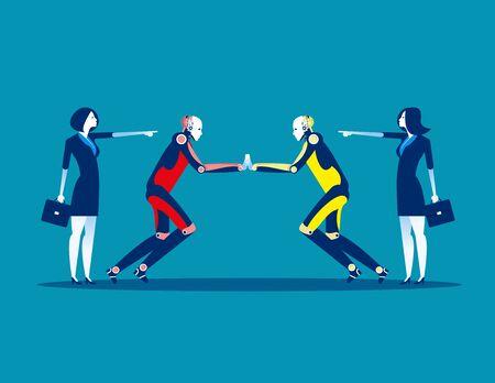 Proxy war. Competition robot technology. Concept business technology vector illustration, Flat business style, Cartoon character design. Reklamní fotografie - 129755231