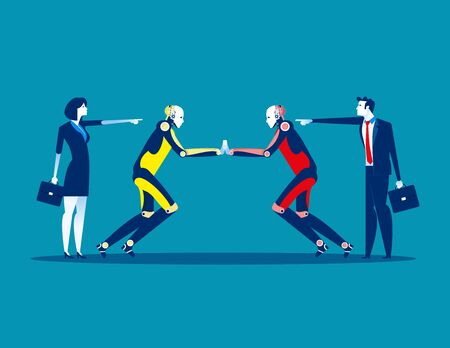 Proxy war. Competition robot technology. Concept business technology vector illustration, Flat business style, Cartoon character design. Reklamní fotografie - 129755242