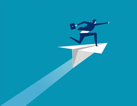 Businessman ride paper plane and pointing to target. Concept business vector illustration, Flat business cartoon, Character style design, Success