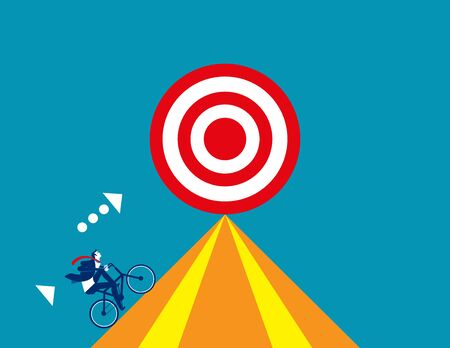 Businessman drive bicycle for target. Concept business vector, Bicycle, Successful. Stock Illustratie