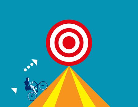 Businesswoman drive bicycle for target. Concept business vector, Bicycle, Successful. Reklamní fotografie - 129755247
