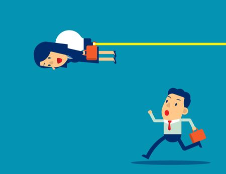 Business people competition. Concept business vector illustration, Teamwork, Office worker. Flying with bulb.
